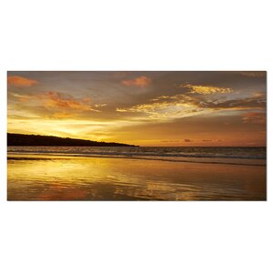 Amazing Beach with Beautiful Breaking Waves Modern Beach Photographic Print on Wrapped Canvas by Design Art