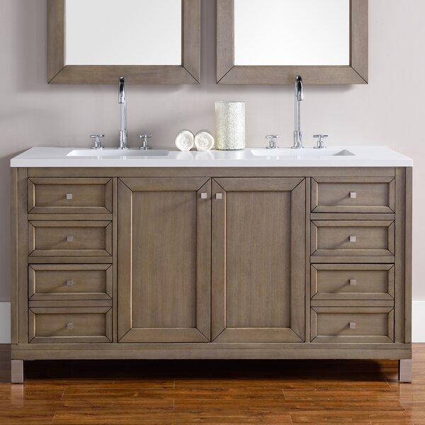 Valladares 60 Double Ceramic Sink White Washed Walnut Bathroom Vanity Set by Brayden Studio