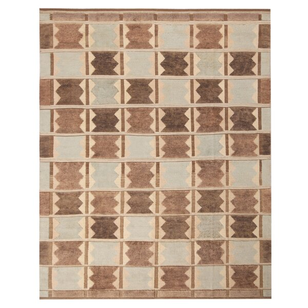 One-of-a-Kind Hand-Knotted Brown 8' x 9'9 Wool Area Rug