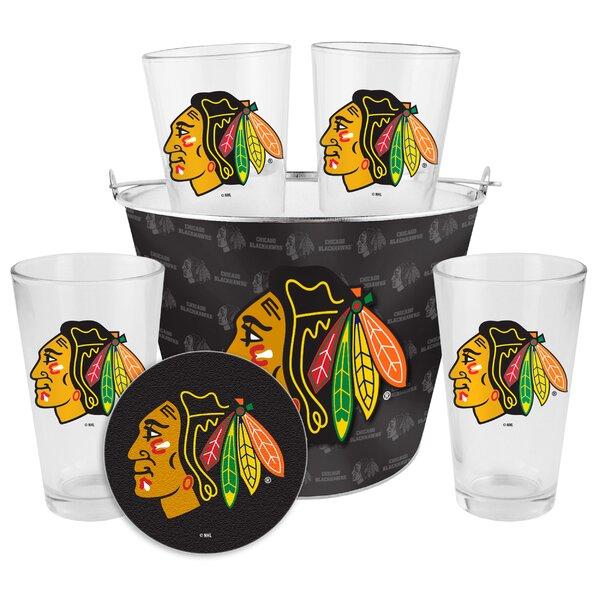 NHL Chicago Blackhawks 9 Piece Beverage Serving Set by Boelter Brands