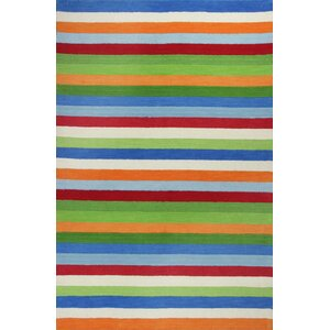 Rainbow Hand-Woven Wool Green/Blue/Orange Area Rug