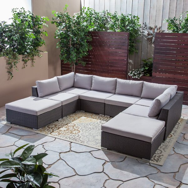 Ansonia Outdoor 8 Piece Sectional Seating Group with Cushions by Brayden Studio