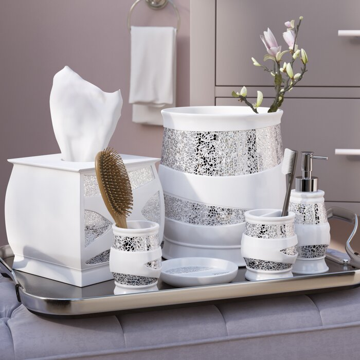 Silver Bathroom Set   Irie 6 Piece White Silver Bathroom Accessory Set