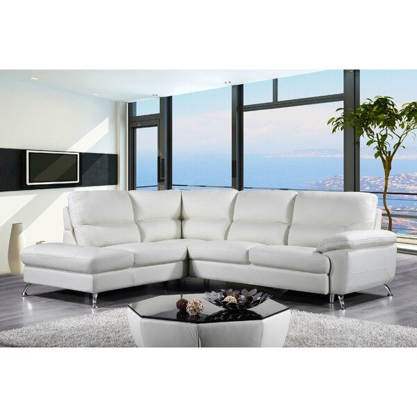 Richeson Leather Sectional by Orren Ellis