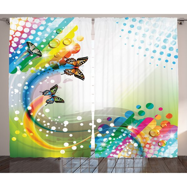 Reece Colorful Home Trippy Flying Butterflies with Color Comet Bubbles Creative Fantasy Design Graphic Print & Text Semi-Sheer Rod Pocket Curtain Panels (Set of 2) by Ivy Bronx