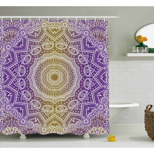 Ayr Yellow and Purple Mandala Ombre East Tradition Deep Sacred Mystic Magic Shower Curtain by World Menagerie