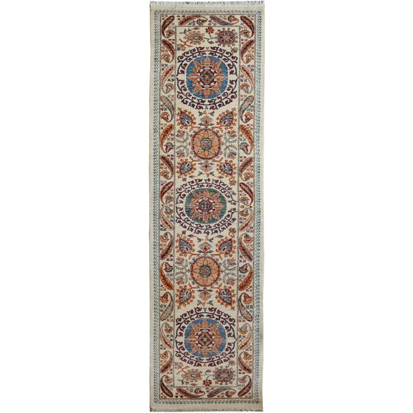 One-of-a-Kind Abbigail Hand-Knotted Wool Ivory/Blue Area Rug by Isabelline