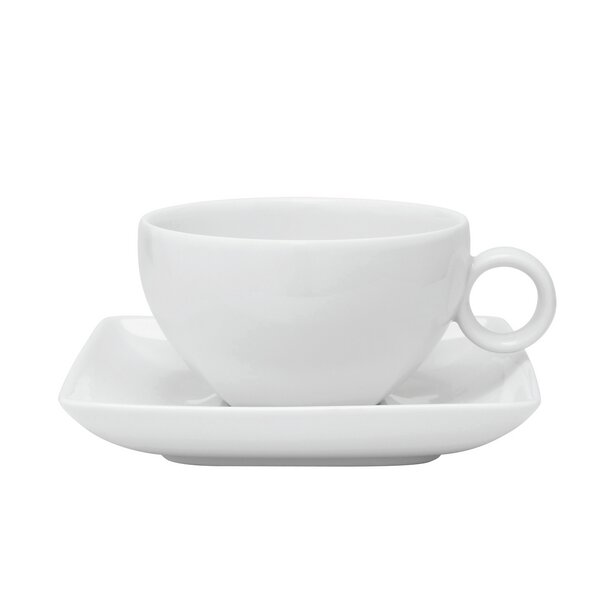 Carré White Tea Cup and Saucer (Set of 4) by Vista Alegre