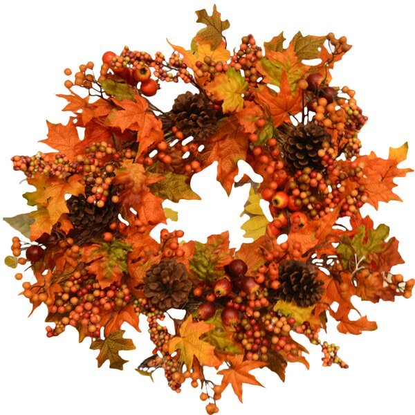 Fall Leaf and Berry 24 Door Wreath by Floral Home Decor