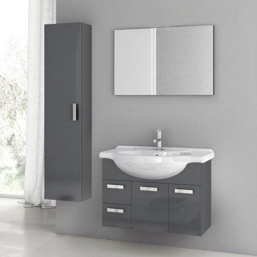 Letson 34 Wall Mounted Single Bathroom Vanity Set with Mirror