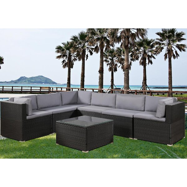 Carrsville 7 Piece Rattan Sectional Seating Group with Cushions by Latitude Run