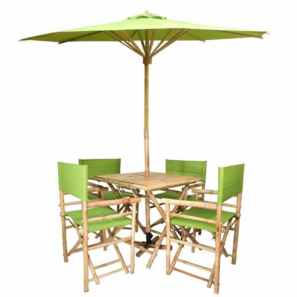 Jammie Patio 5 Piece Dining Set with Umbrella Bayou Breeze W000023913