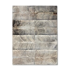 Patchwork Cowhide Zebu Grey Area Rug