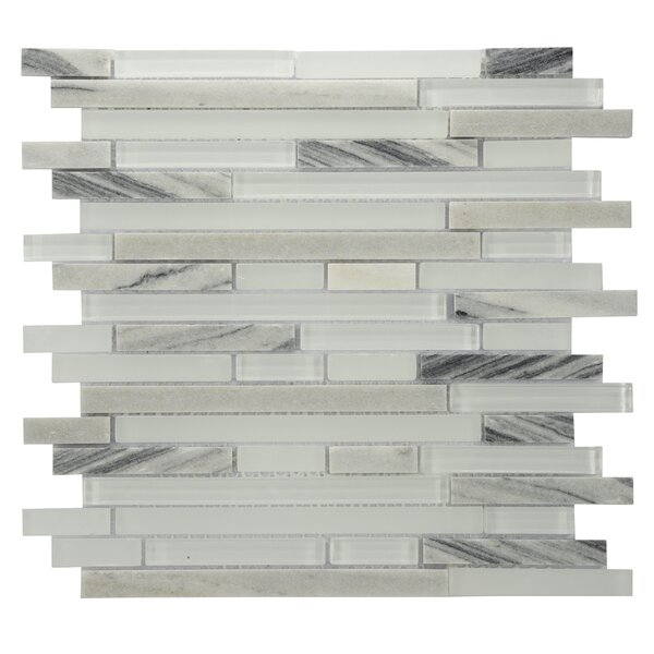 Modern Sleek Mixed Tile in White/Gray by Byzantin Mosaic
