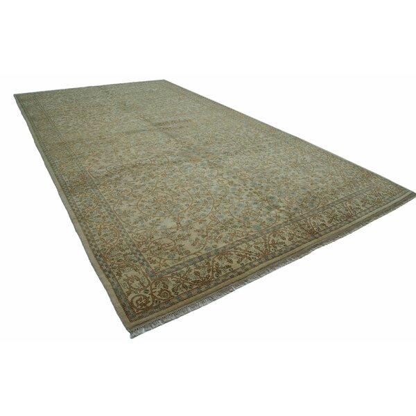 One-of-a-Kind Lampron Hand-Knotted 1960s Turkish Beige 9' x 17' Area Rug