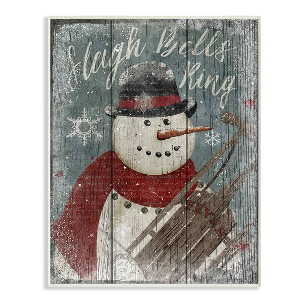 Sleigh Bells Ring Snowman Graphic Art Print by Stupell Industries