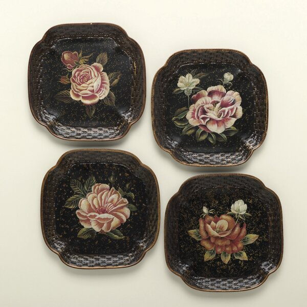 Ravi 4 Piece Handpainted Rose Plate Set by World M
