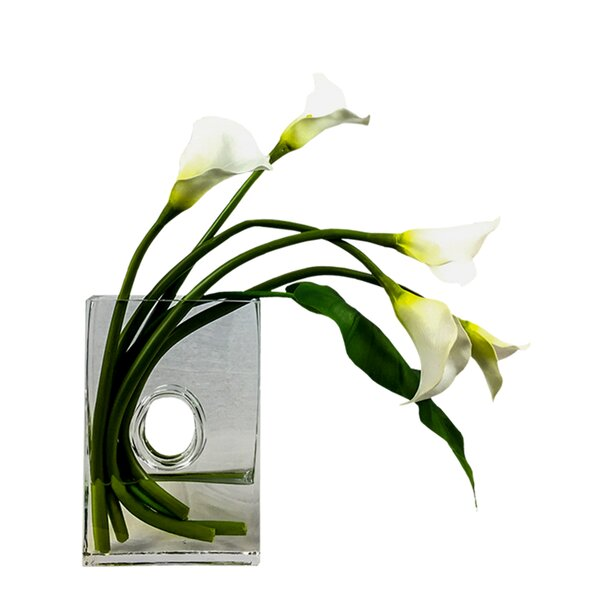 Calla Square Lilies Floral Arrangement in Vase by Bloomsbury Market