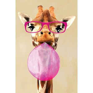 'Clever Giraffe with Bubblegum' Painting Print on Canvas by East Urban Home