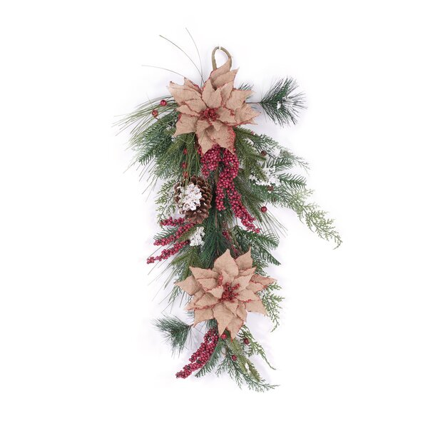 Artificial Poinsettia Floral Christmas Swag by Glitzhome