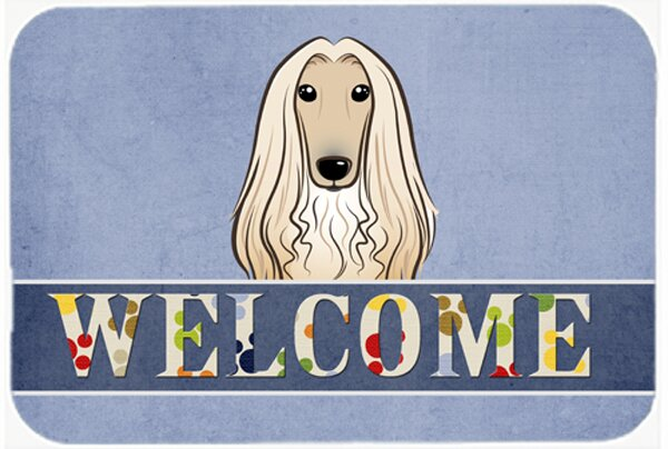 Afghan Hound Welcome Kitchen/Bath Mat by East Urban Home