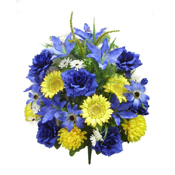 33 Stems Artificial Full Blooming Sunflowers, Rose, Lily and Black Eyed Susan with Foliage Mixed Bush by Admired by Nature