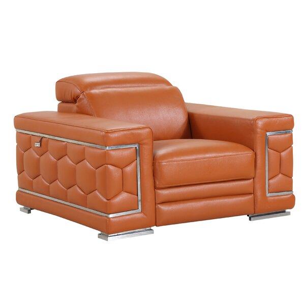 Hawkesbury Common Luxury Italian Leather Upholstered Living Room Club Chair by Orren Ellis