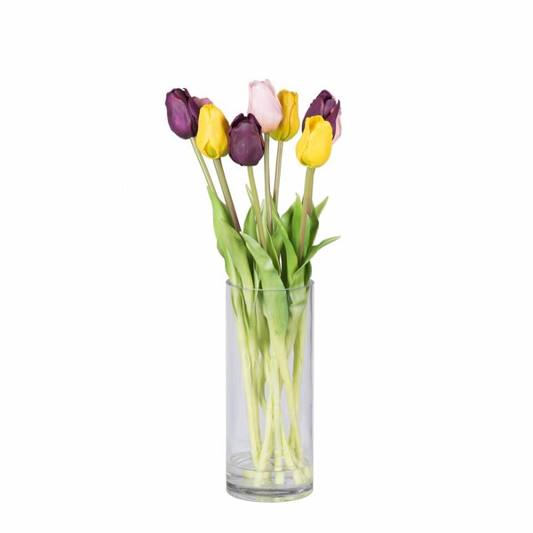 Tulip Floral Arrangement in Decorative Vase by House of Hampton