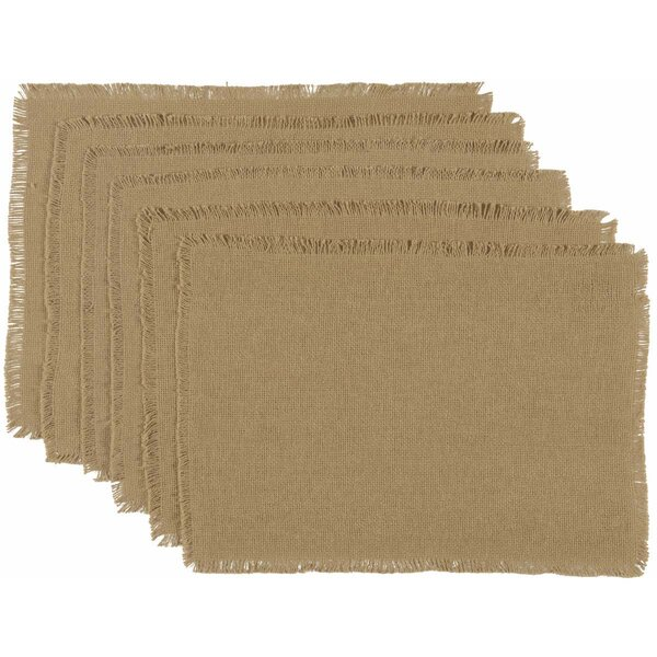 Mulley Natural Burlap Fringed Placemat (Set of 6) by Gracie Oaks