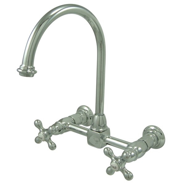 Restoration Wall Mounted Double Handle Kitchen Faucet by Kingston Brass
