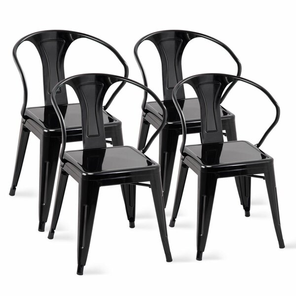 Ares Tolix Metal Stacking Patio Dining Chair (Set of 4) by Williston Forge