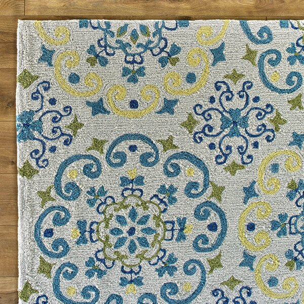 Moroccan Ivory & Light Blue Area Rug by Birch Lane™