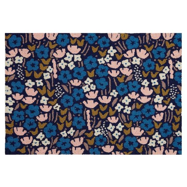 Volkonskaya Floral Hand Hooked Wool Blue Area Rug by Bungalow Rose