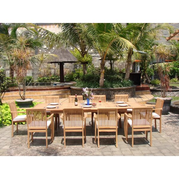 Hangah Luxurious 11 Piece Teak Dining Set by Rosecliff Heights