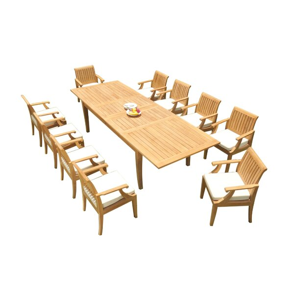 Lobos 11 Piece Teak Dining Set by Rosecliff Heights
