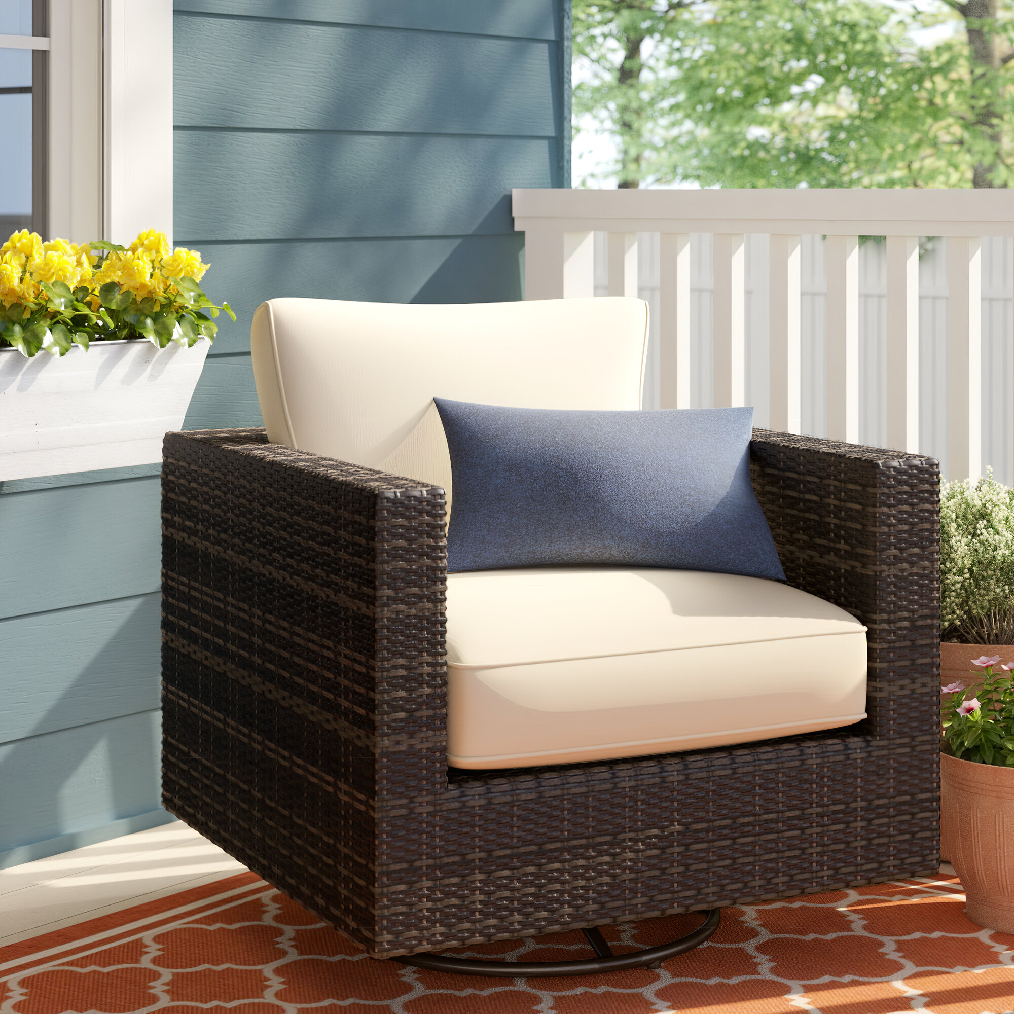 Magnificent Sol 72 Outdoor Barwick Swivel Patio Chair With Cushions Bralicious Painted Fabric Chair Ideas Braliciousco