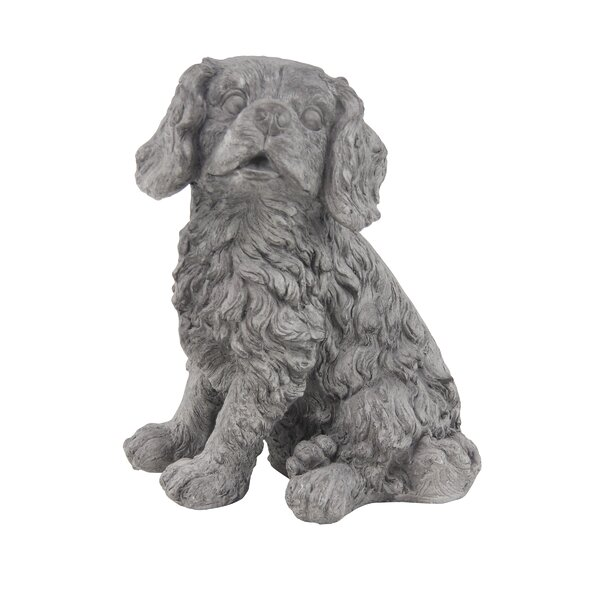 Ethridge Traditional Sitting Dog Resin Figurine by Charlton Home