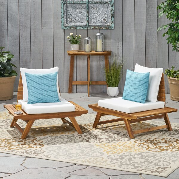Bullock Outdoor Patio Chair with Cushions (Set of 2) by Longshore Tides Longshore Tides