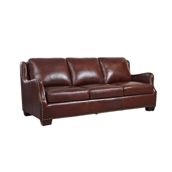 Milligan Leather Sofa by Canora Grey