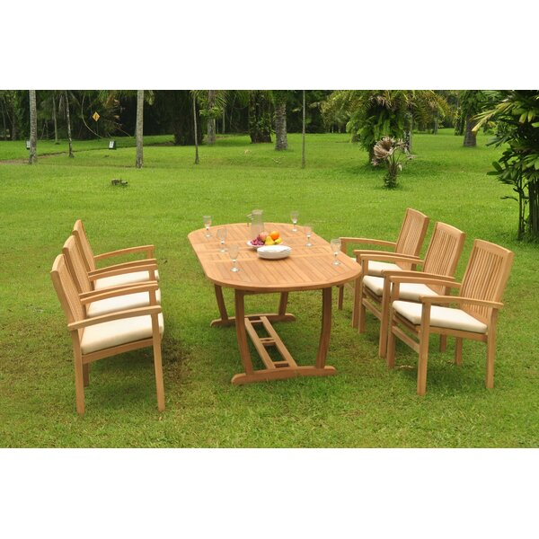 Cuvier 7 Piece Teak Dining Set by Rosecliff Heights