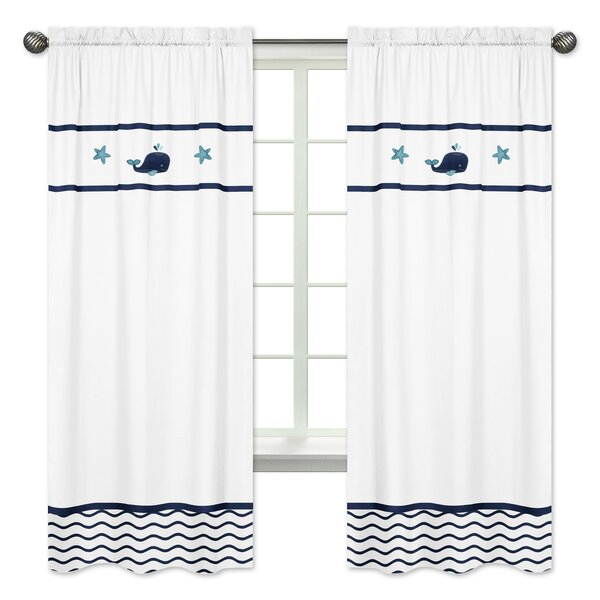 Whale Nautical Semi-Opaque Rod Pocket Curtain Panels (Set of 2) by Sweet Jojo Designs