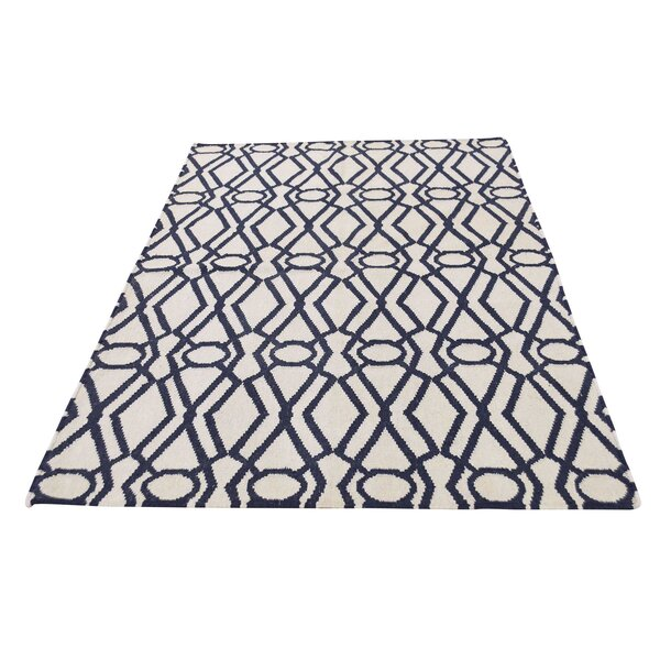 Reversible Durie Kilim Hand-Knotted Chocolate Brown/Beige Area Rug by House of Hampton