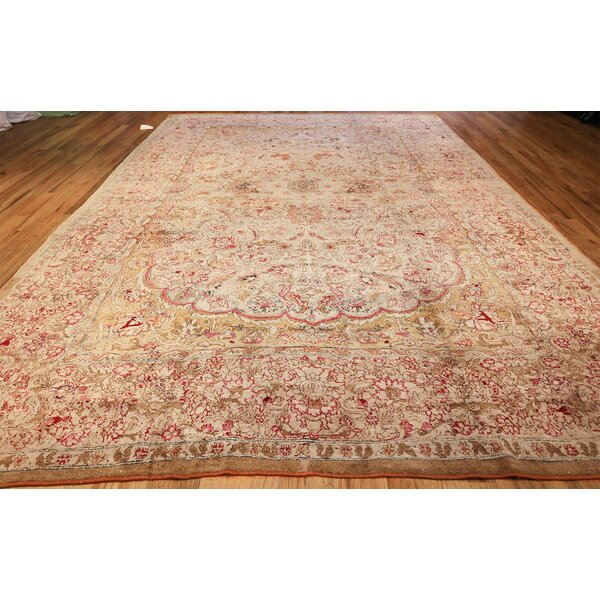 One-of-a-Kind Agra Hand-Knotted 1900s Yellow 10'4 x 14'7 Wool Area Rug