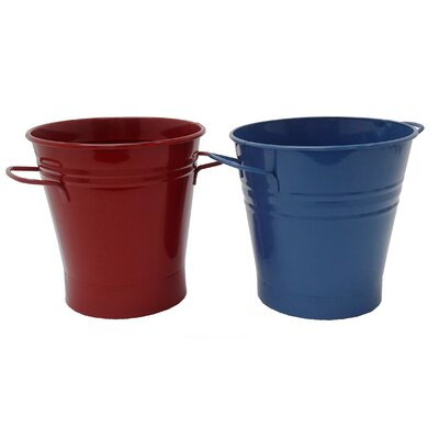 Enameled French Pail Steel Bucket Winston Porter Color: Red-Blue