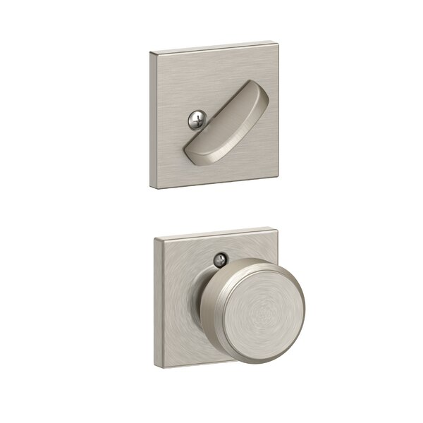 Interior Handleset Bowery Knob and Interior Single Cylinder Deadbolt Thumbturn with Collins Trim by Schlage