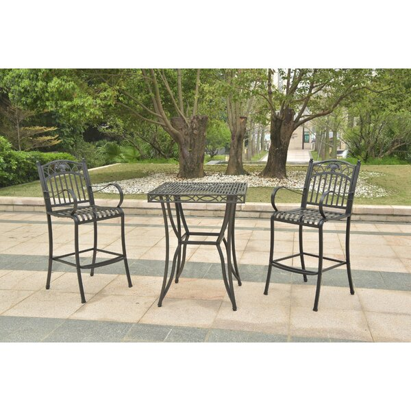 Hanes Height Patio Bistro 3 Piece Bar Set by Fleur De Lis Living