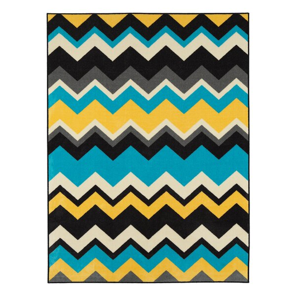 Barry Chevron Waves Blue/Yellow Area Rug by Viv + Rae