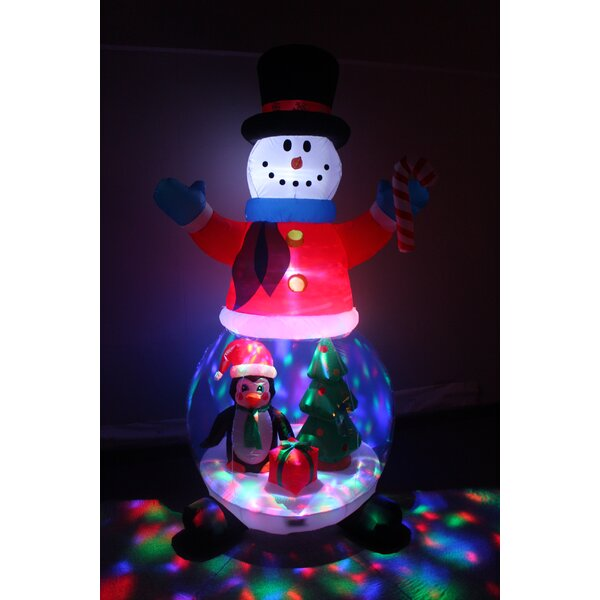 Snowman Globe with Penguins, Gift Box, and Tree Yard Christmas Inflatable by The Holiday Aisle