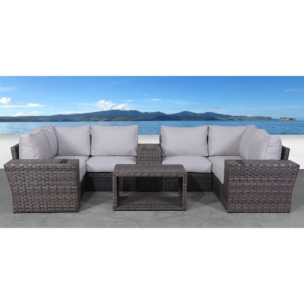 Cochran 10 Piece Rattan Sectional Seating Group with Cushions by Rosecliff Heights