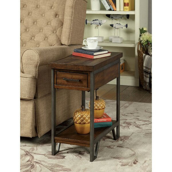 Kempton Rectangular Wood and Metal End Table with Storage by Williston Forge